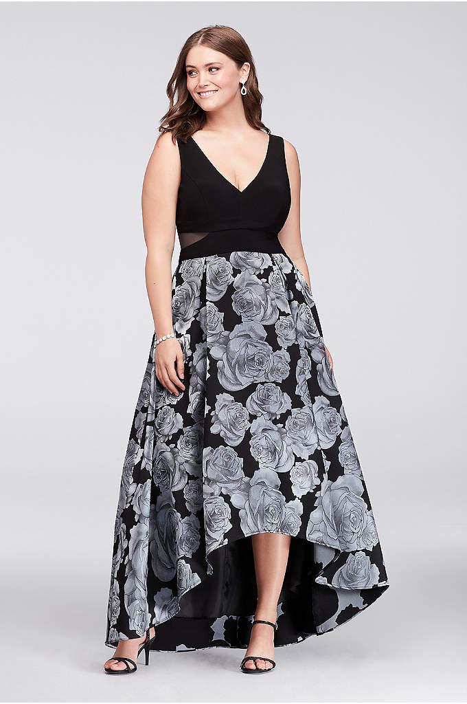 V-Neck High-Low Jacquard Plus Size Ball Gown - Blue roses bloom on the full jacquard skirt