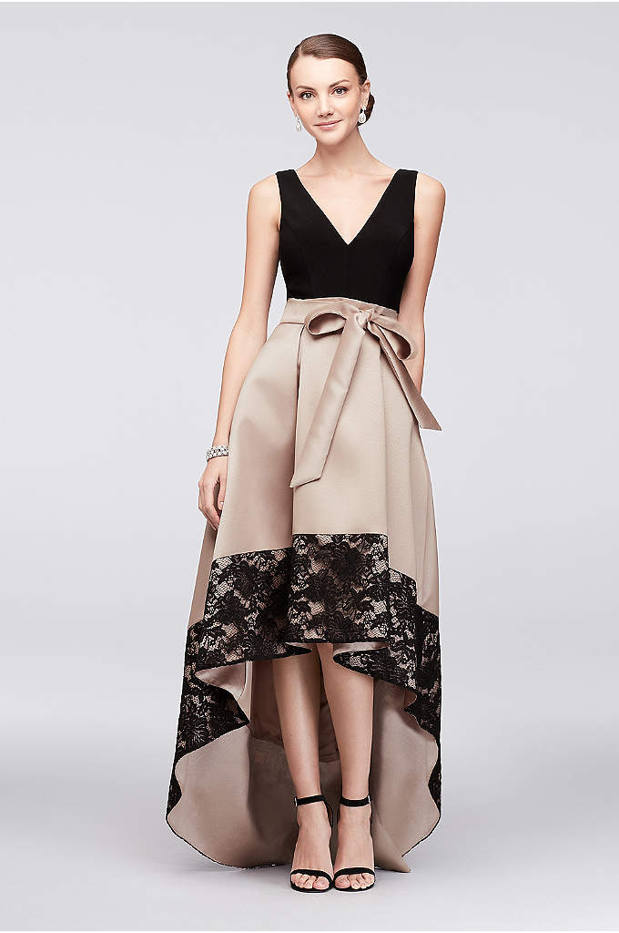 Mikado Ball Gown with Lace-Edge High-Low Skirt - A simple V-neck jersey bodice lets this party
