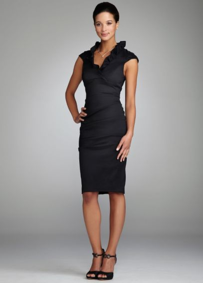 Ruched Stretch Taffeta Dress with Ruffle Collar XS113