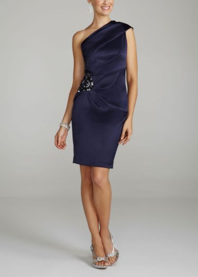 One Shoulder Stretch Satin Dress with Side Beading XS1650
