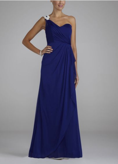 One Shoulder Long Sheer Dress with Jeweled Trim XS1934