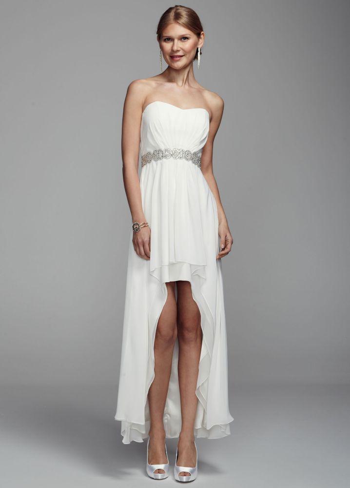 Db studio strapless chiffon high low wedding dress with for High low wedding dress davids bridal