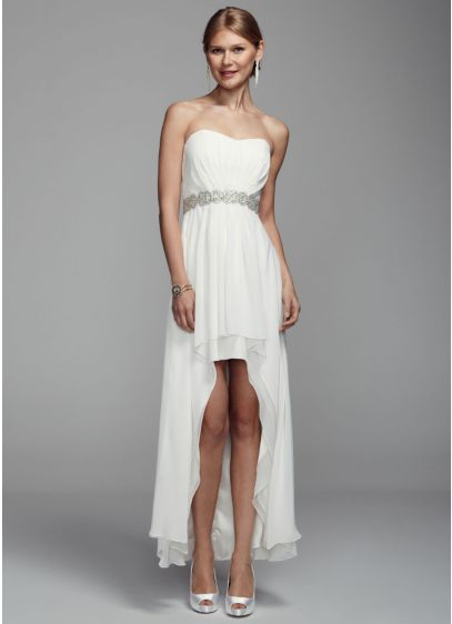 Strapless Chiffon High Low Gown With Beaded Waist David