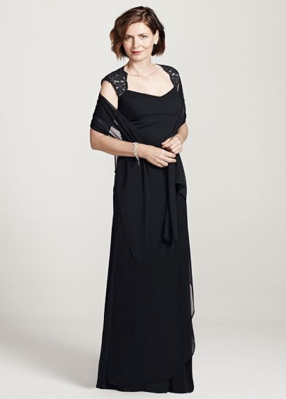 Cap Sleeve Long Jersey Dress with Lace Detail XS2195P
