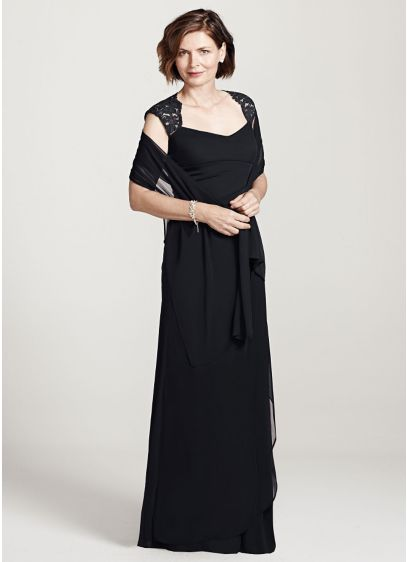 Long Sheath Cap Sleeves Formal Dresses Dress - Xscape