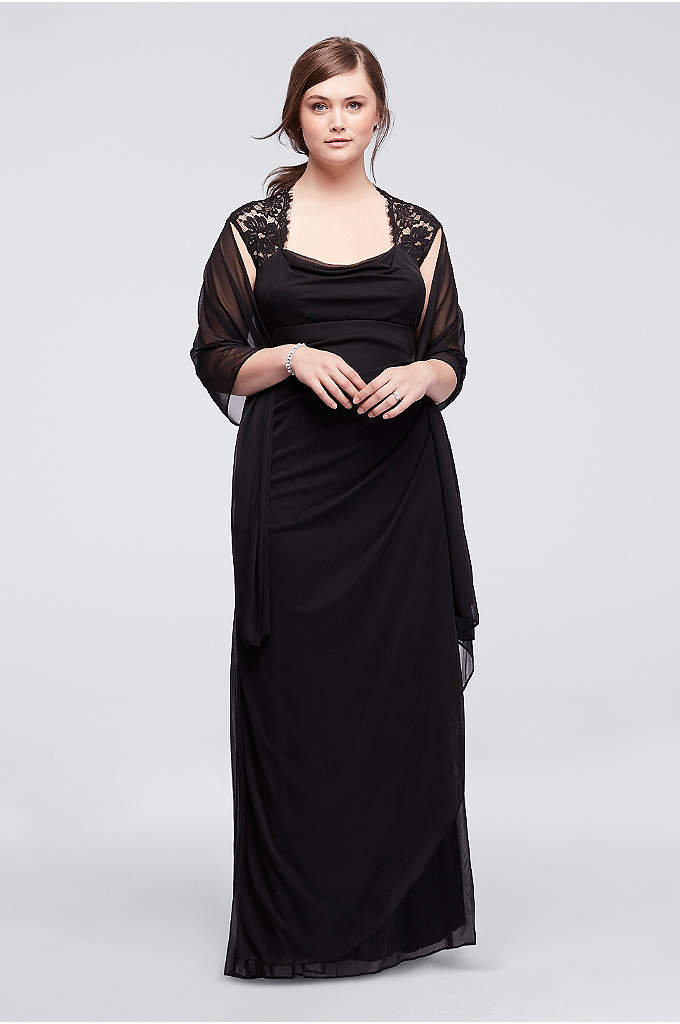 Cap Sleeve Jersey Plus Size Dress with Lace - Elegant and ultra sophisticated, you will look like
