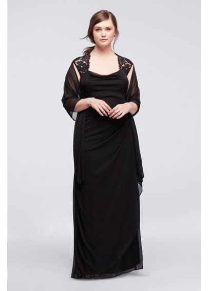 Cap Sleeve Long Jersey Dress with Lace Detail XS2195W