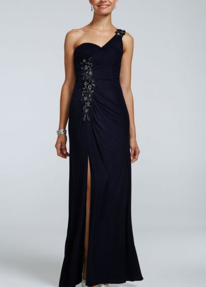 One Shoulder Beaded Jersey Dress with Ruching XS2428