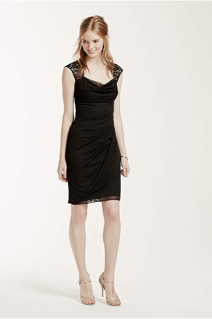 Lace Cap Sleeved Sheer Dress with Side Ruffles