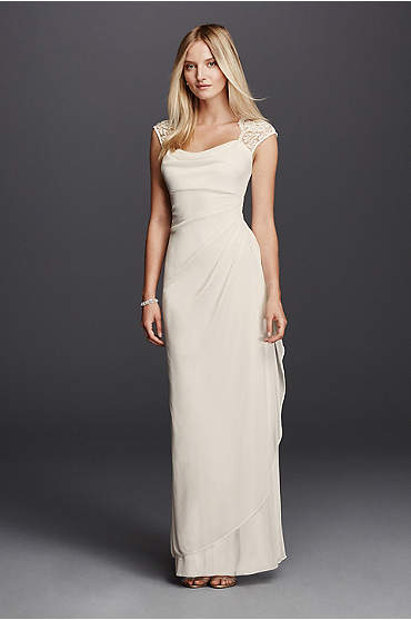 Lace Cap Sleeve Long Matte Mesh Dress