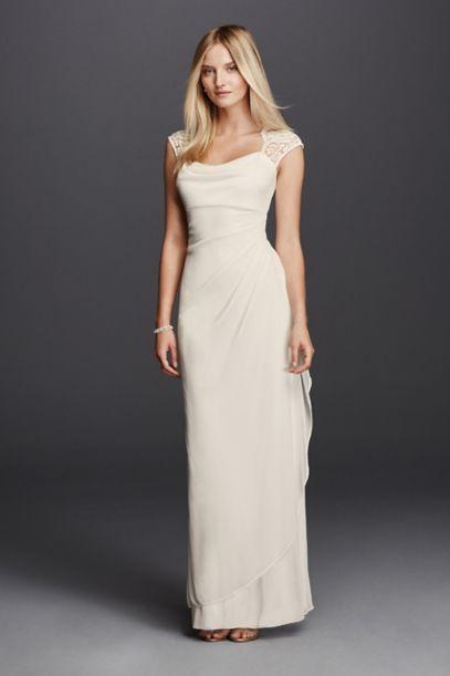 Lace Cap Sleeve Long Matte Mesh Dress | David's Bridal
