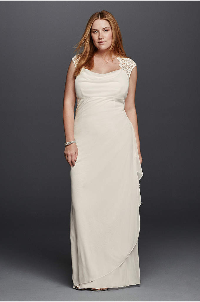 Lace Cap Sleeve Plus Size Long Matte Mesh - You will look breathtaking in this timeless and