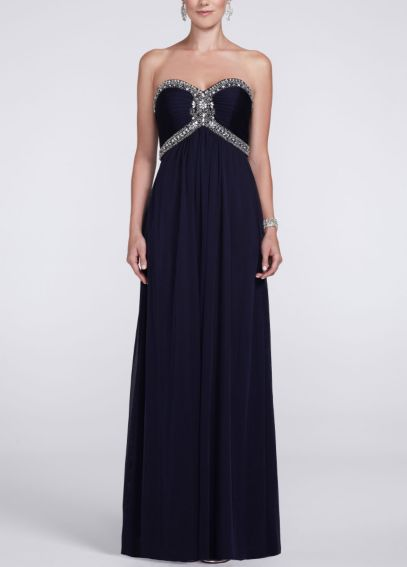 Strapless Sheer Matte Jersey Dress with Beading XS3891