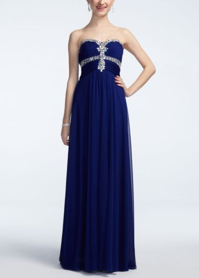 Strapless Chiffon Dress with Embellished Bodice  XS3971