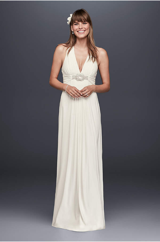 Long Jersey Gown with Beaded Knot Detail - This long, stretch jersey wedding dress features a