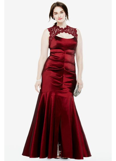 Sleeveless Stretch Taffeta Dress with Lace Keyhole XS4665W