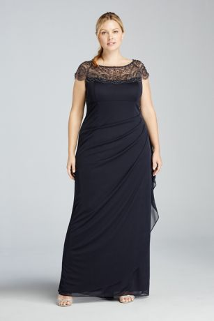 Cap Sleeve Beaded Illusion Plus Size Dress | David\'s Bridal
