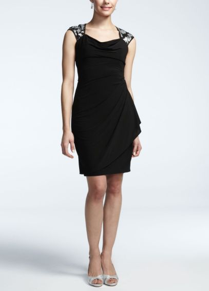Cap Sleeve Sheer Matte Jersey Dress with Sequin XS5179