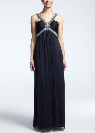 Long Sheer Matte Jersey Dress with Beaded Straps XS5306