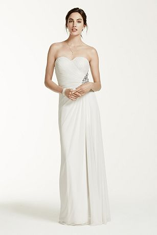 Strapless Mesh Sheath Dress with Beaded Back