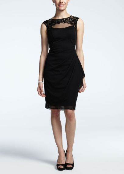 Sheer Matte Jersey Dress with Illusion Neckline XS5422