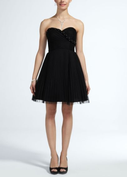Short Strapless Tulle Dress with Rope Bust Detail XS5472