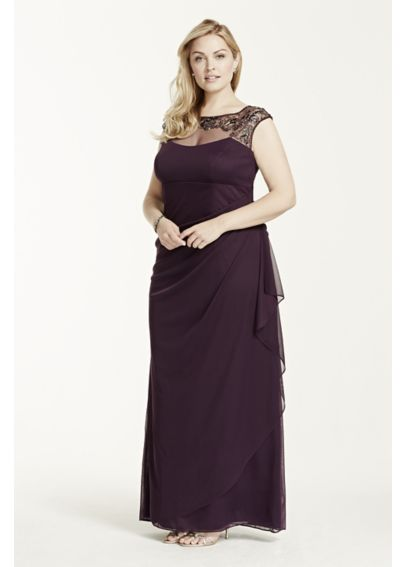 Cap Sleeve Long Jersey Dress with Beaded Neckline XS5531W