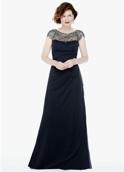 Long Grey Soft & Flowy Xscape Bridesmaid Dress
