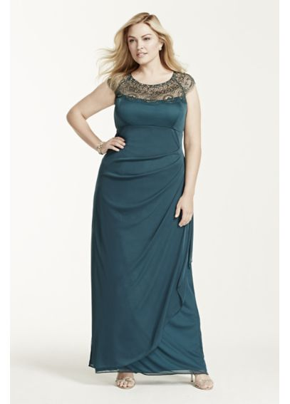 Cap Sleeve Jersey Dress with Illusion Neckline XS5733W