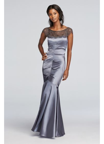 Long Mermaid/ Trumpet Cap Sleeves Formal Dresses Dress - Xscape