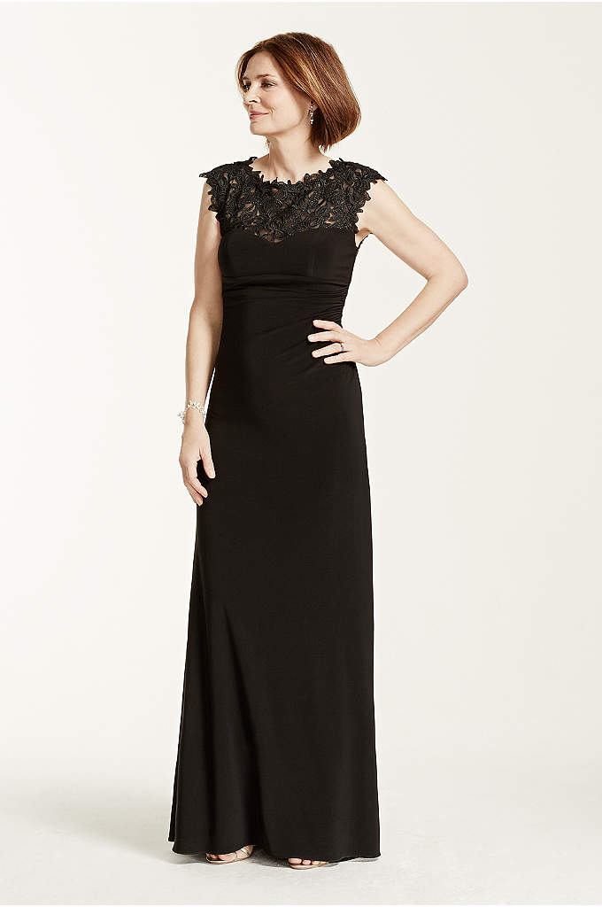 Cap Sleeve Jersey Dress with Lace Illusion Bodice - Elegant and ultra-sophisticated, you will look stunning in