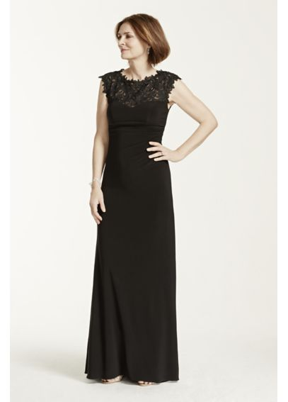 Cap Sleeve Jersey Dress with Lace Illusion Bodice XS6024