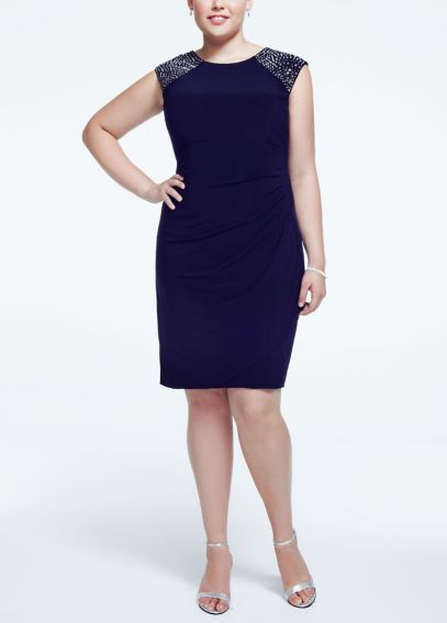 Cap Sleeve Jersey Dress with Beaded Shoulders XS6109W