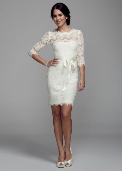 Short Lace Dress with 3/4 Sleeves - Davids Bridal