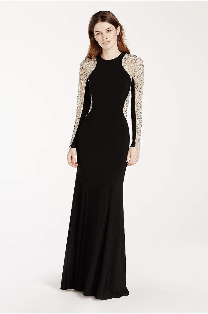 Jersey Dress with Illusion Beaded Sleeves