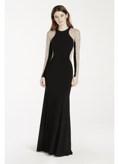 Long Sheath Long Sleeves Prom Dress - Xscape