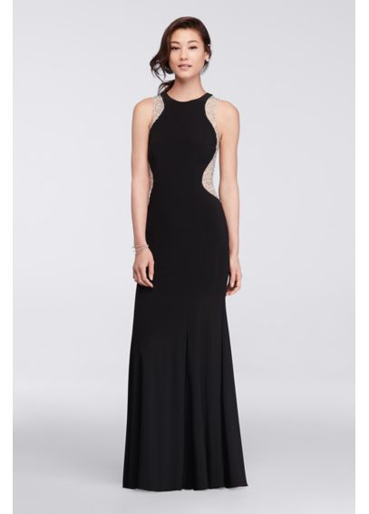 Sleeveless Long Dress with Beaded Sides XS7467