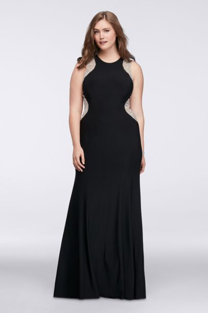 illusion plus size dress with caviar beading | david's bridal