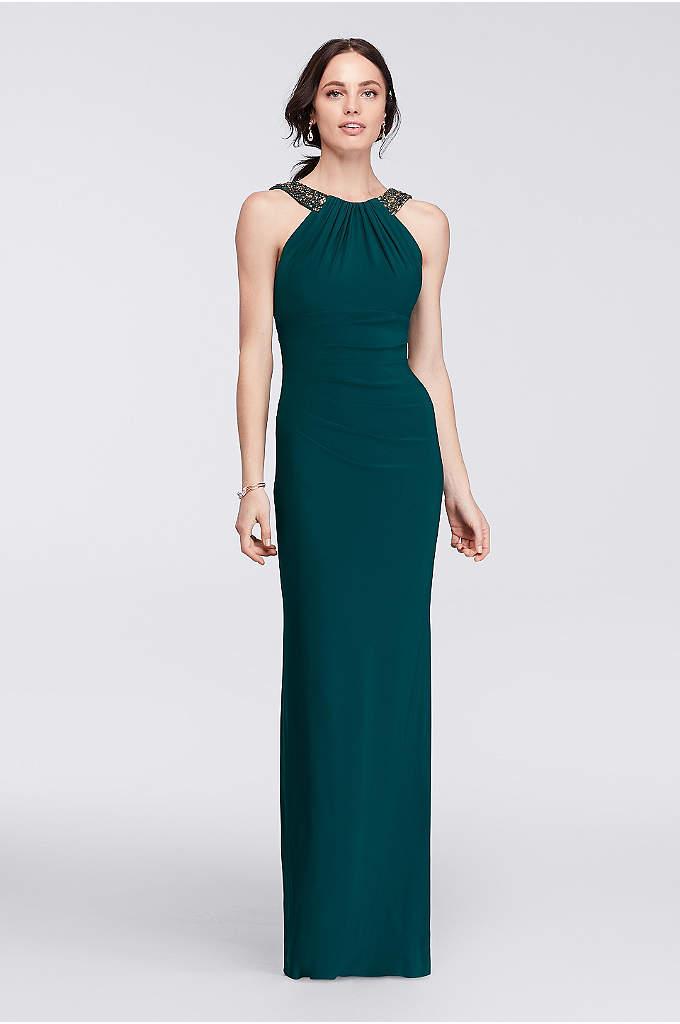 Long Halter Dress with Beaded Neckline - Make an elegant statement in this long halter