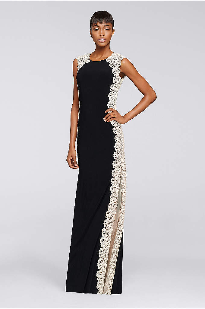 Long Jersey Dress with Glitter Chemical Lace - The Schiffli lace that traces your shape in