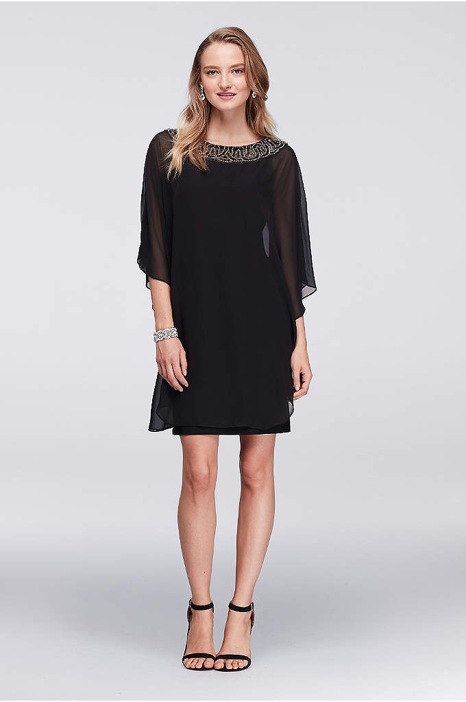 Chiffon Capelet Cocktail Dress with Beaded Neck - A layer of chiffon floats atop a simple