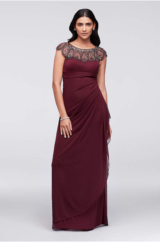 Long Cap Sleeve Party Dress With Beaded Neckline - Gorgeous teardrop beading dresses up the cap-sleeve neckline