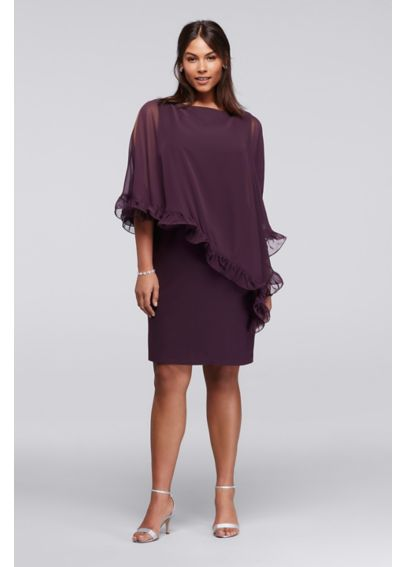 Knee Length Plus Size Dress with Ruffled Capelet XS8155W