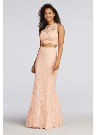 Lace Two Piece Prom Dress with Scalloped Trim XS8423
