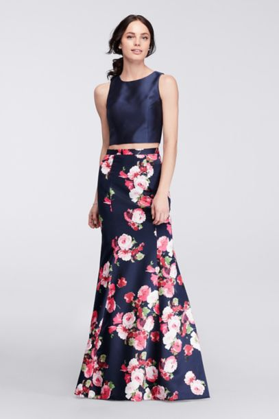 Two Piece Mermaid Gown With Floral Satin Skirt Davids Bridal