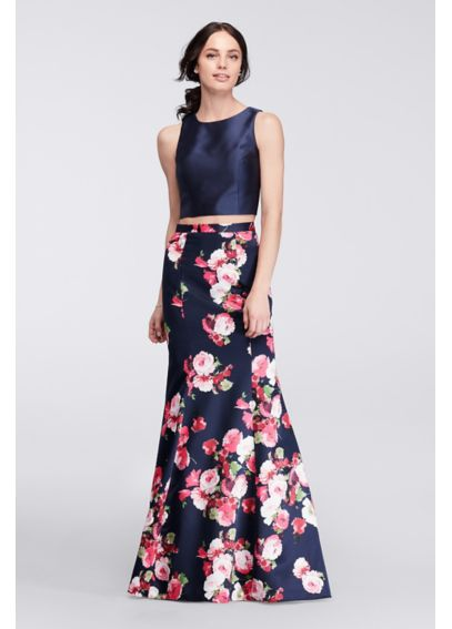 Two-Piece Mermaid Gown with Floral Satin Skirt XS8474