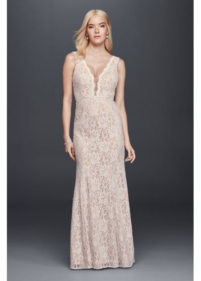 Lace Sheath Wedding Dress with Plunging V-Neckline XS8491