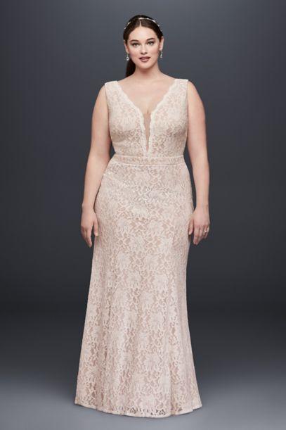 vneck lace sheath plus size wedding dress davids bridal