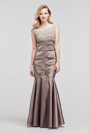 Cap Sleeve Taffeta Dress with Glitter Lace Bodice
