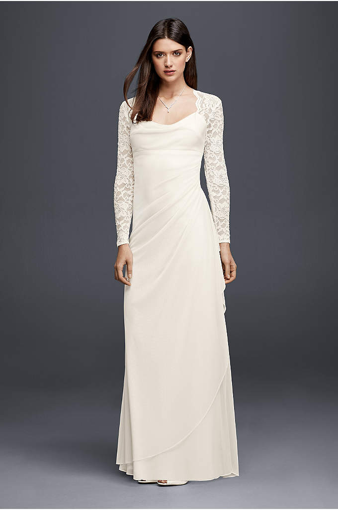 Lace Cap Sleeve Long Mesh Wedding Dress
